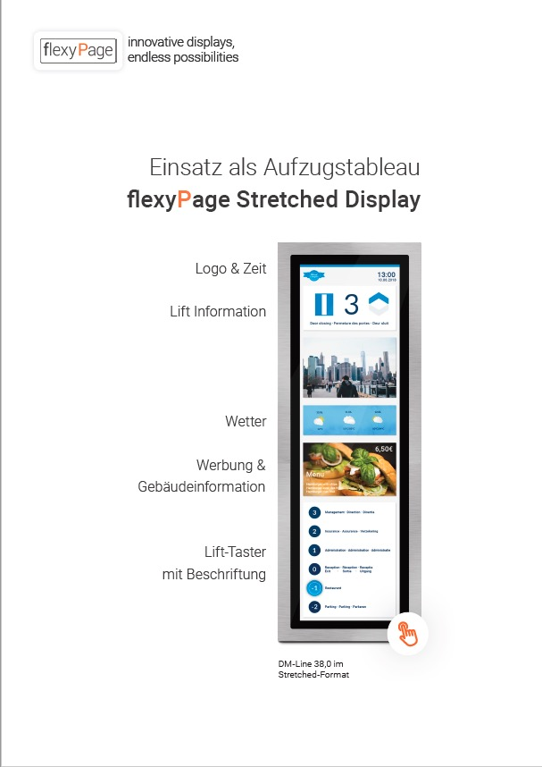 flexyPage TFT stretched Displays für Aufzüge Flyer deutsch