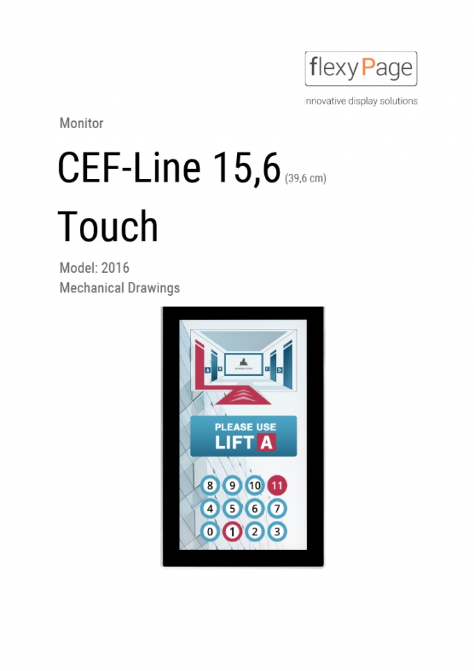 Mechanical drawing Monitor CEF-Line 15,6
