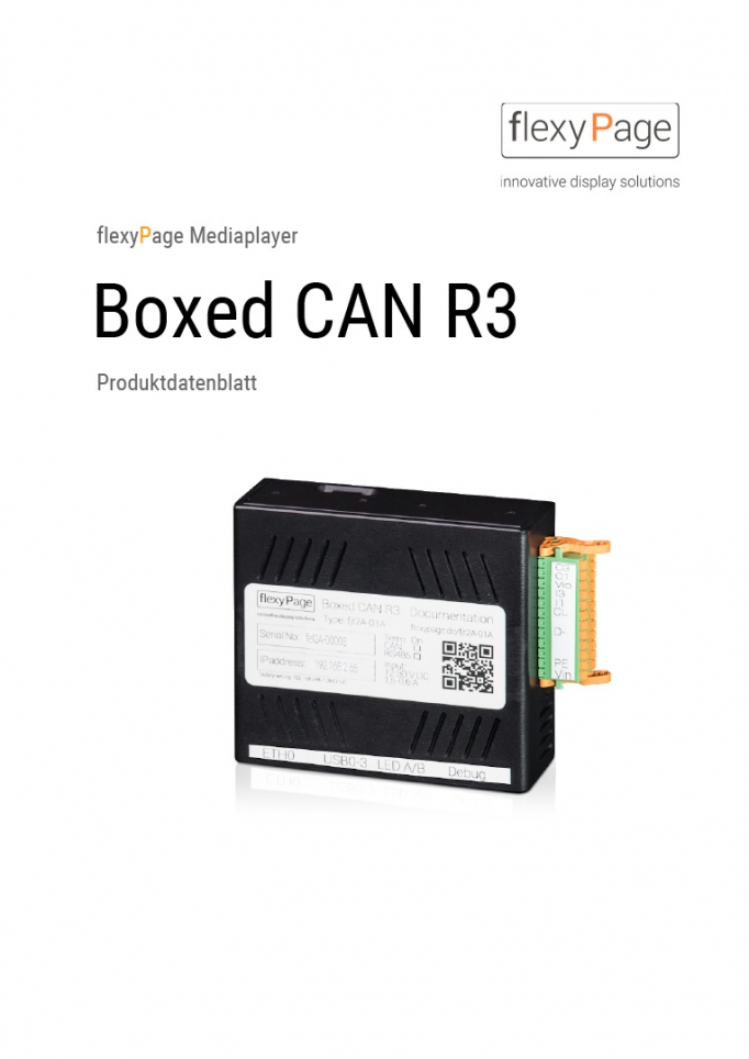 Produktdatenblatt Mediaplayer Boxed CAN R3