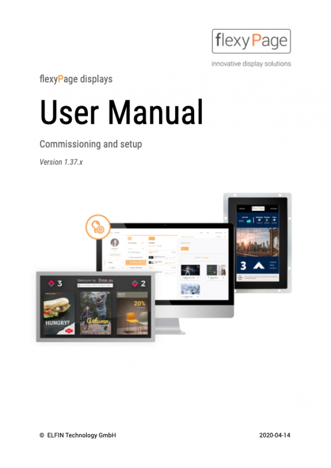 flexyPage displays user manual