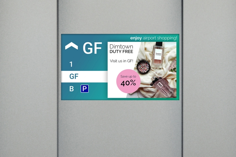 multimedia display in an airport elevator example