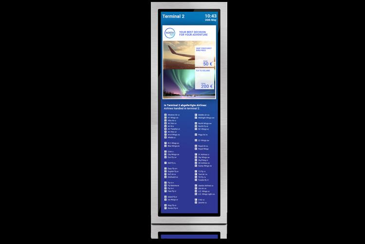 flexyPage 38 Zoll Aufzugsdisplay für Flughäfen