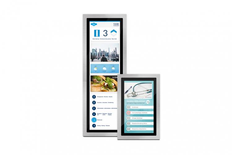 flexyPage Displays für Bürogebäude und Krankenhaus