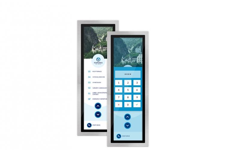 Bitte PIN eingeben  Der Zugang zu verschiedenen Etagen des Gebäudes soll beschränkt werden? Mit der PINpad-Funktion der flexyPage Touch-Displays für Aufzüge lässt sich der Zugang zu bestimmten Etagen mit Hilfe einer 3 bis 6 stelligen PIN beschränken. Wird der Taster für die betroffene Etage gedrückt, muss auf dem Touchscreen in einem pop-up Fenster zuerst die richtige PIN eingegeben werden, bevor das Signal versandt wird. Der Zugang zu verschiedenen Etagen des Gebäudes soll beschränkt werden? Mit der PINpad