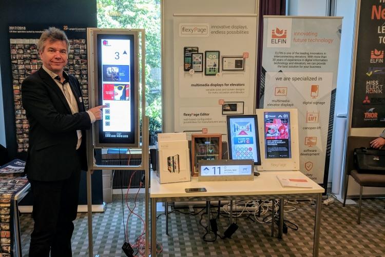 ELFIN with flexyPage elevator displays at elevcon 2018