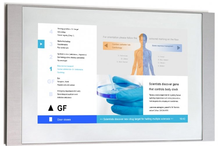 TME3-line displays with a screendesign for hospitals