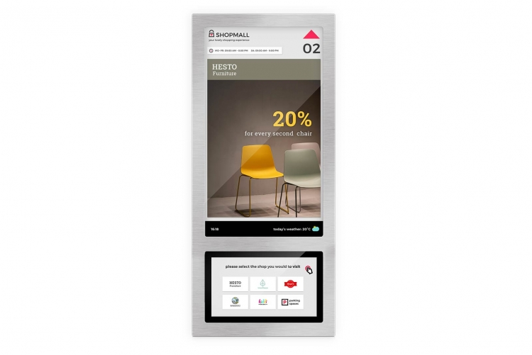 Screendesign-Kombination for Aufzugsdisplays in einem Einkaufszentrum