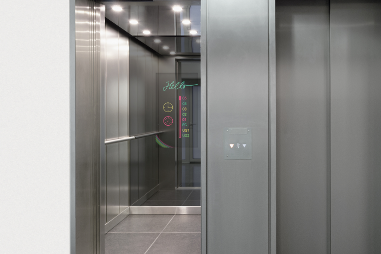 Magic mirror display for elevators