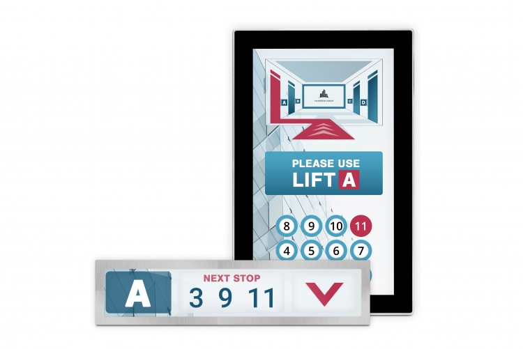 flexyPage displays for destination dispatch systems